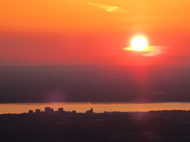 Midnight Sun Setting Over Anchorage